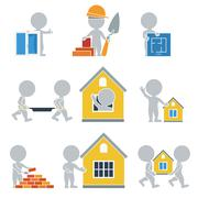 flat people - construction - stock illustration