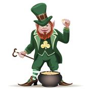 joyful  leprechaun with a cauldron full of golden coins - stock illustration