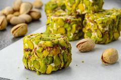 pistachio turkish delight dessert - stock photo