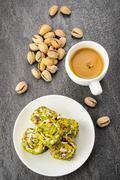 pistachio turkish delight dessert and coffee - stock photo
