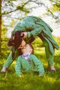 Mommy kissing her cute son - stock photo
