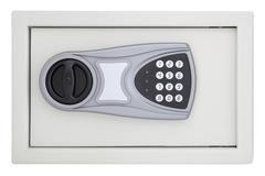 Front numeric code steel safe box on white background. Stock Photos