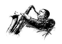 jazzman illustration - stock illustration
