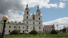 A flock of doves flying near an Orthodox church. Сathedral Belarus Minsk - stock footage