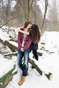 gentle affectionate kiss loving couple - stock photo