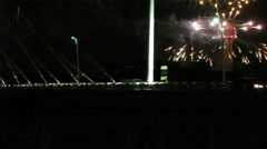 Stock Video Footage of Fireworks at the Reunion Tower in Dallas Red River Rivalry