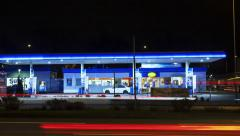 Aral gas station - time lapse - stock footage