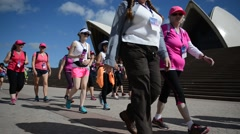 Charity Walk for Breast Cancer in Royal Botanic Gardens, Sydney, Australia Stock Footage