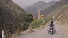 Motorcycle in dangerous road Stock Footage