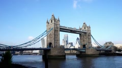 Tower bridge in a sunny day, weather variety . Stock Footage