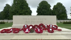 The Stone of Remembrance in the Bayeux War Cemetery Commonwealth Cemetery. - stock footage