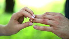 Closeup hands of  bride groom exchanging wedding rings. ceremony. celebration Stock Footage