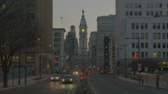 60FPS 4k City Hall from Broad St at Dusk Stock Footage