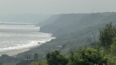 View along the cliffs above Omaha Beach, Normandy, France. Stock Footage