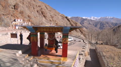Buddha Prayer Wheel in Indian Ladakh (Jammu and Kashmir) Stock Footage