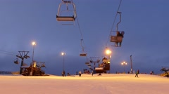 Ski lift station evening time on top of the hill.  Stock Footage