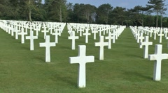 Crosses on graves (with audio) in the Normandy American Cemetery, France. Stock Footage