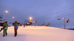 Ski lift station evening time on top of the hill. Time lapse Stock Footage