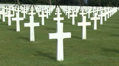 Crosses on graves in the Normandy American Cemetery, France. Stock Footage
