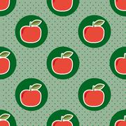 apple pattern. seamless texture with ripe red apples - stock illustration