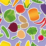 vegetable seamless pattern. the image of vegetables - stock illustration