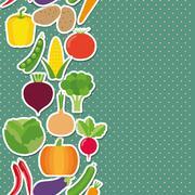 vegetable seamless border pattern. the image of vegetables - stock illustration