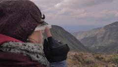 Female trekker using google glasses Stock Footage