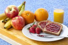 image of breakfast on table - stock photo