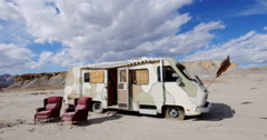 Abandoned RV in a Desert Badlands Setting Time Lapse in 4K 4096x2160 Stock Footage