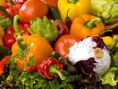 Vegetable arrangement Stock Photos