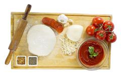 top view of pizza ingredients - stock photo