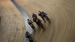 Cycling pursuit competition top view Stock Footage