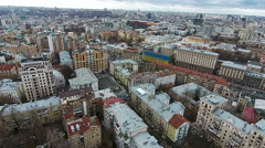 Winter in the Kiev city, aerial view of Khreschatyk street Stock Footage