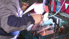 Welder with Welding Electrode on the Workbench Vice Stock Footage