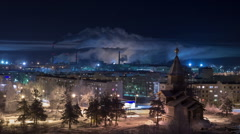 Night town with wooden church on main avenue. Russia, winter, timelapse - stock footage