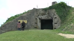 German bunker WN 62 above Omaha beach, Colleville-sur-Mer, Normandy, France. Stock Footage