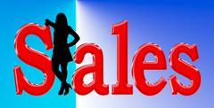 Sales lady standing in text blue and red Stock Illustration