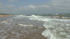 Waves (with audio) on Omaha beach, Colleville-sur-Mer, Normandy, France. Stock Footage