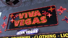 Viva Vegas souvenir shop on Fremont Street Stock Footage