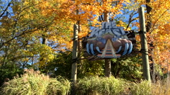 The Beast Roller Coaster sign at King's Island - stock footage