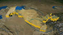 Stock Video Footage of Uzbekistan extruded. Blue Marble.