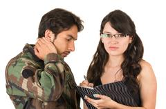 distraught military soldier veteran ptsd - stock photo
