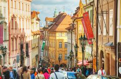Crowded street of old town in prague Stock Photos