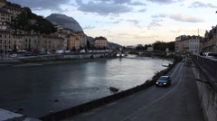 Isere river in Grenoble at dusk, France 2 Stock Footage