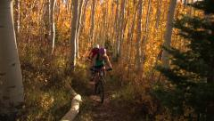 Mountain biking on forested trail in autumn. - stock footage