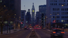 Timelapse City Hall from Broad St at Sunset Stock Footage