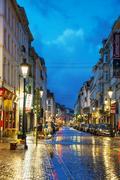 rue du midi in brussels - stock photo
