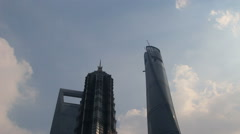 Time lapse: skyscrapers in Shanghai Lujiazui financial district Stock Footage