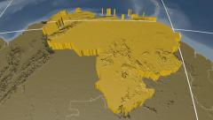 Venezuela extruded. Bumps. Graticule. Stock Footage