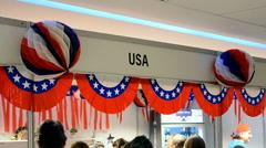 USA booth on Charity bazaar 2014, Kiev, Ukraine. Stock Footage